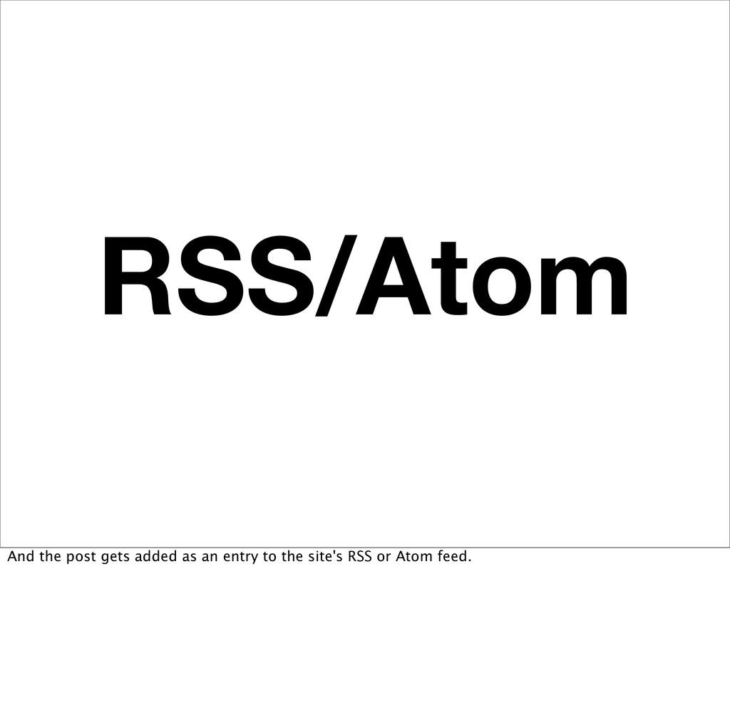 RSS/Atom And the post gets added as an entry to...