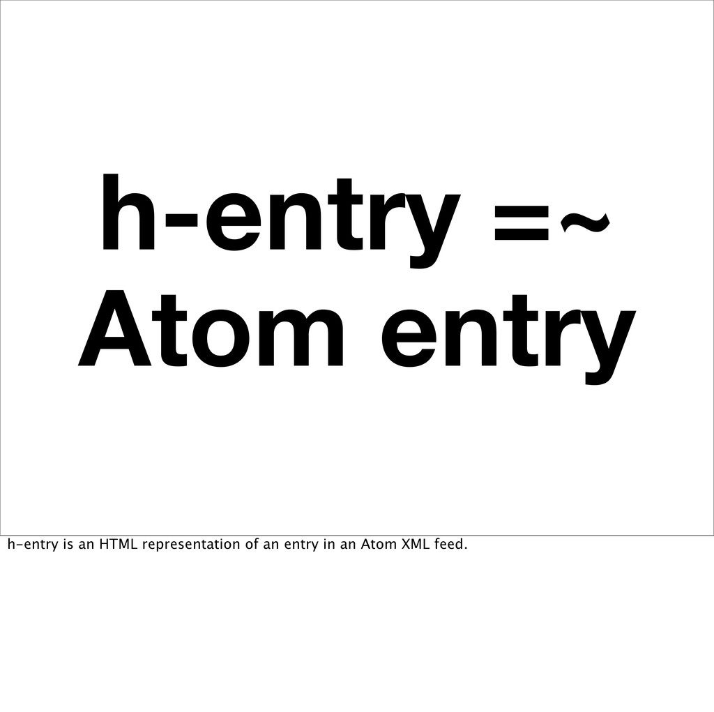 h-entry =~ Atom entry h-entry is an HTML repres...