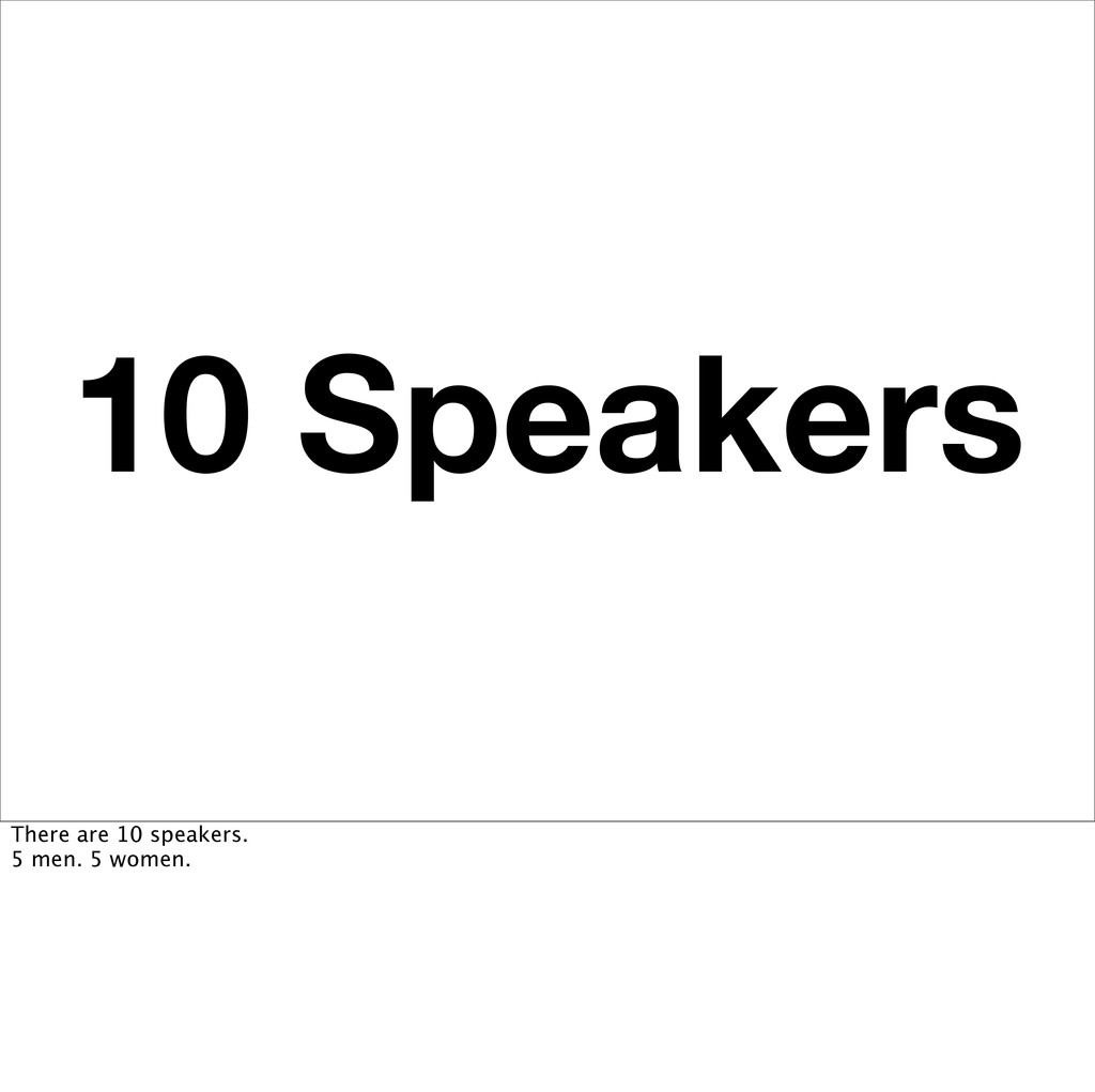10 Speakers There are 10 speakers. 5 men. 5 wom...