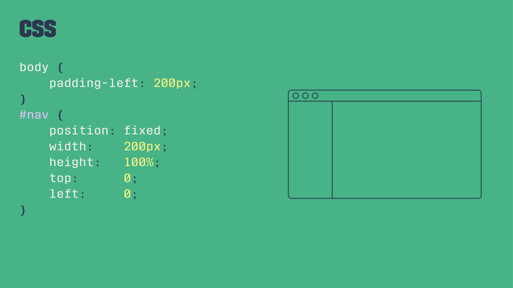 CSS body { padding-left: 200px; } #nav { positi...