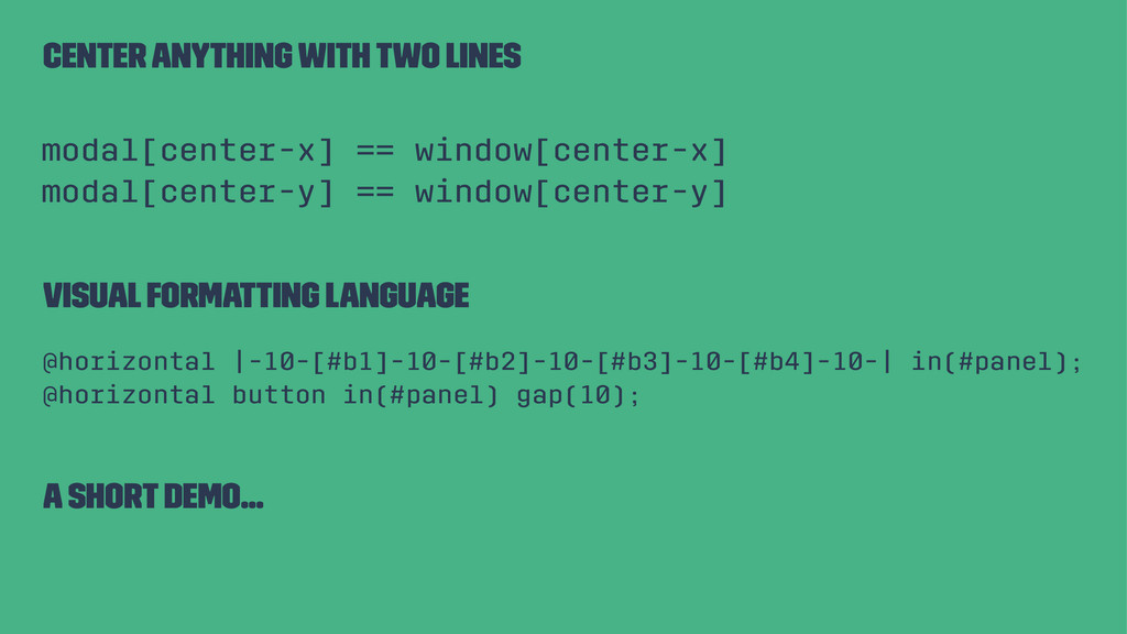 Center anything with two lines modal[center-x] ...