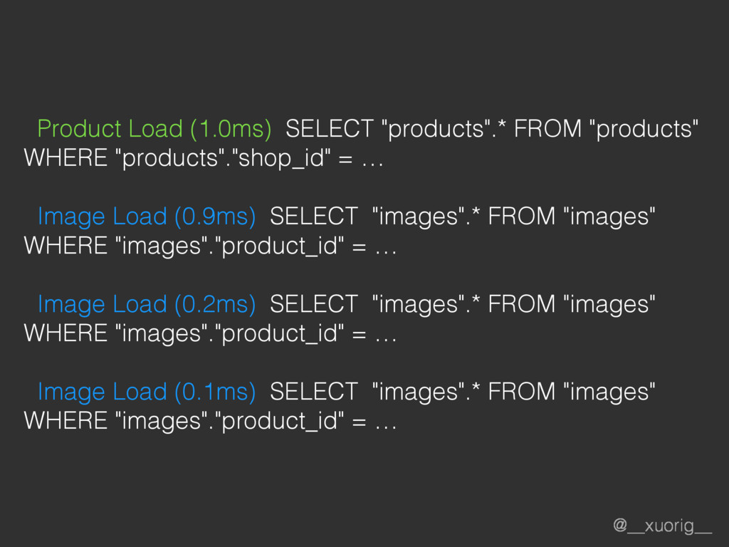 "@__xuorig__ Product Load (1.0ms) SELECT ""produc..."