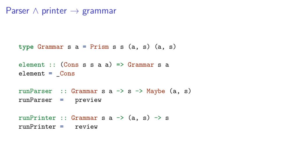 Parser ∧ printer → grammar type Grammar s a = P...