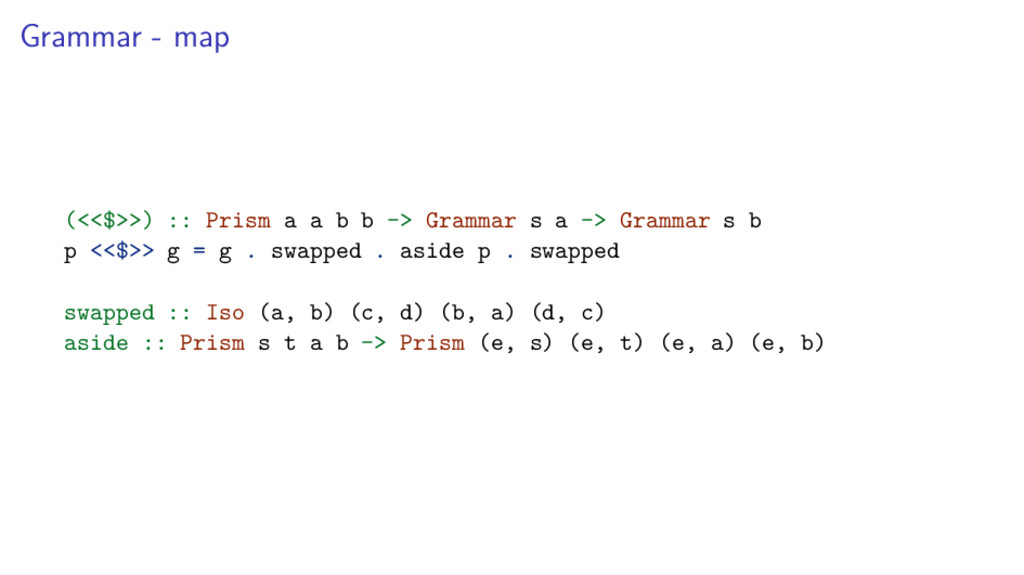 Grammar - map (<<$>>) :: Prism a a b b -> Gramm...