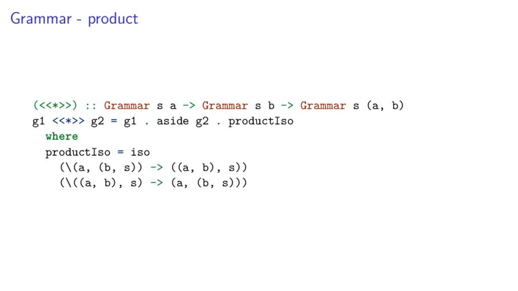Grammar - product (<<*>>) :: Grammar s a -> Gra...