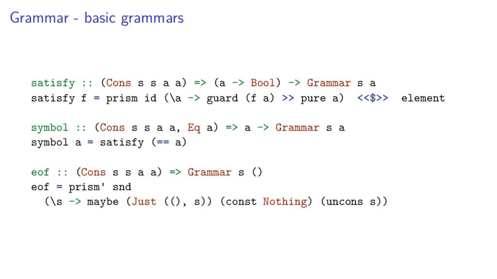Grammar - basic grammars satisfy :: (Cons s s a...