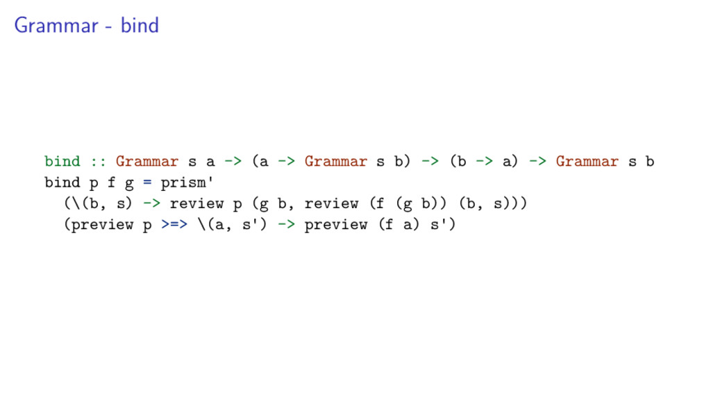 Grammar - bind bind :: Grammar s a -> (a -> Gra...