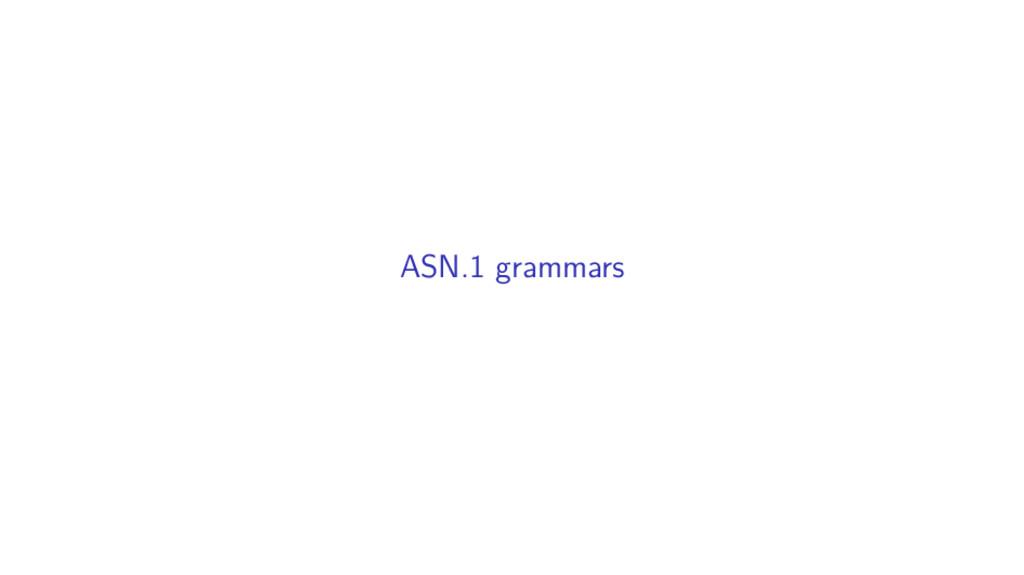 ASN.1 grammars