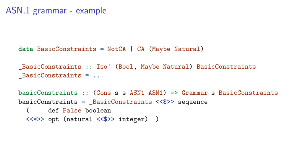ASN.1 grammar - example data BasicConstraints =...