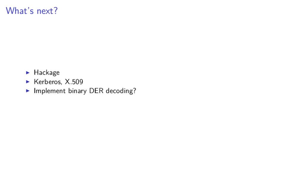 What's next? Hackage Kerberos, X.509 Implement ...