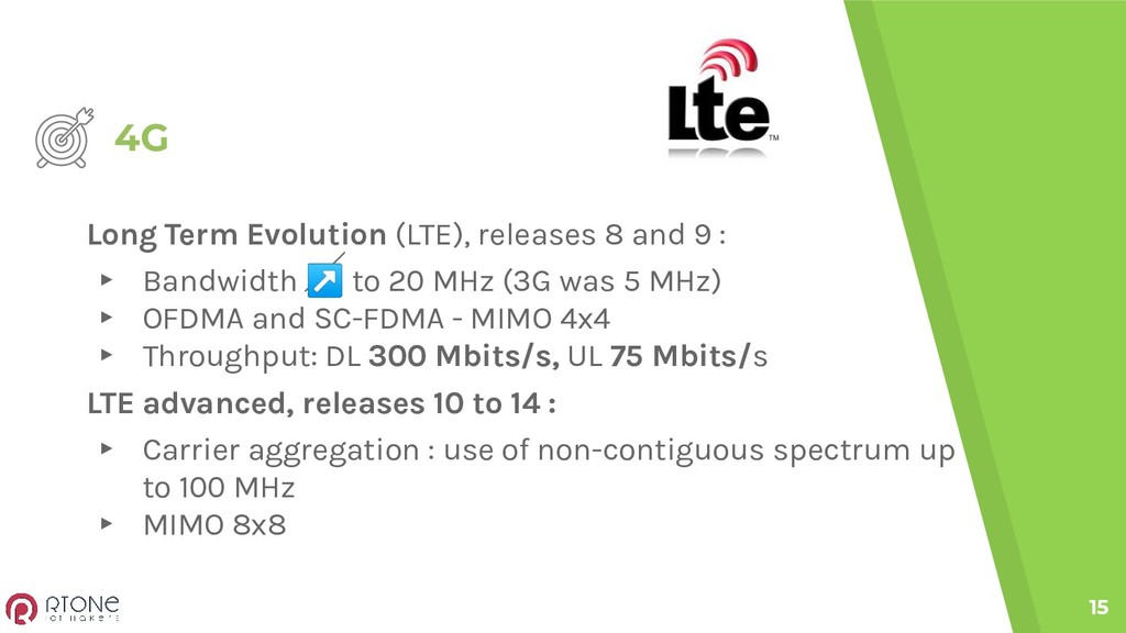 4G 15 Long Term Evolution (LTE), releases 8 and...