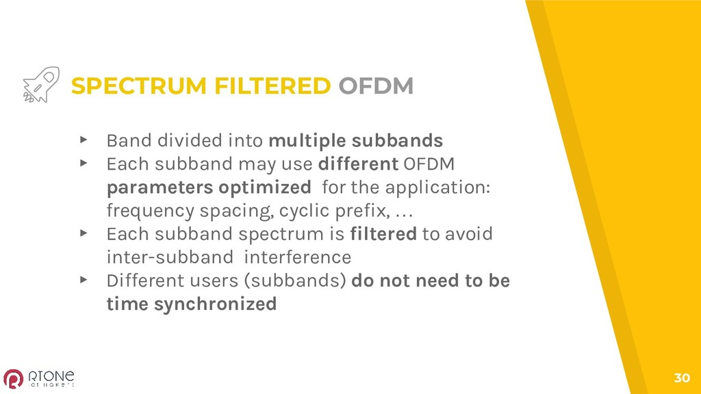 30 SPECTRUM FILTERED OFDM ▸ Band divided into m...