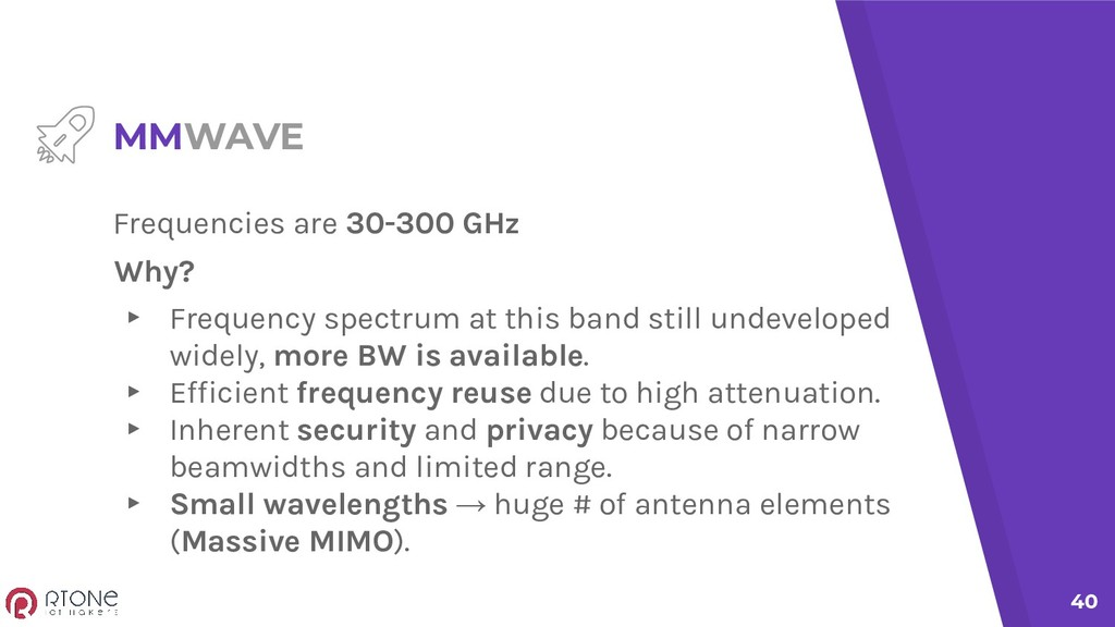 40 MMWAVE Frequencies are 30-300 GHz Why? ▸ Fre...