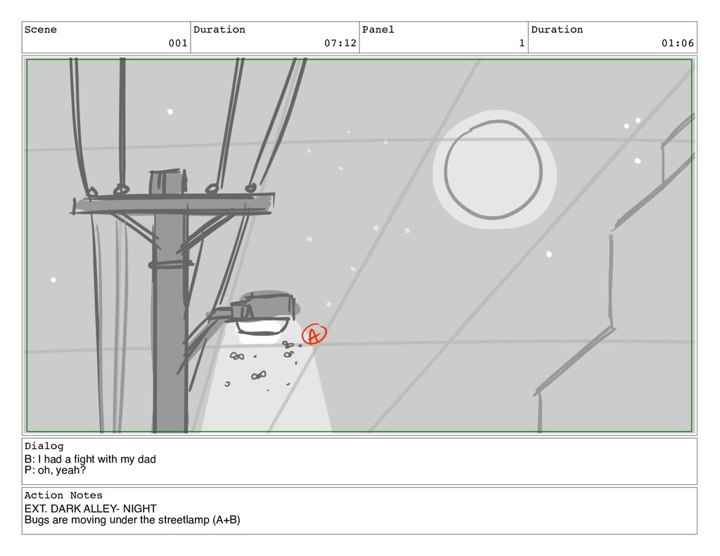 Scene 001 Duration 07:12 Panel 1 Duration 01:06...