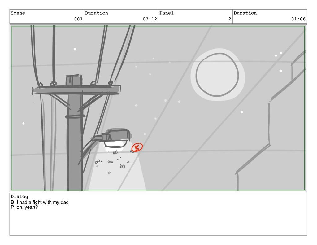 Scene 001 Duration 07:12 Panel 2 Duration 01:06...
