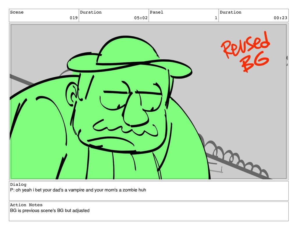 Scene 019 Duration 05:02 Panel 1 Duration 00:23...