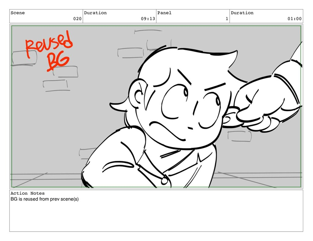 Scene 020 Duration 09:13 Panel 1 Duration 01:00...