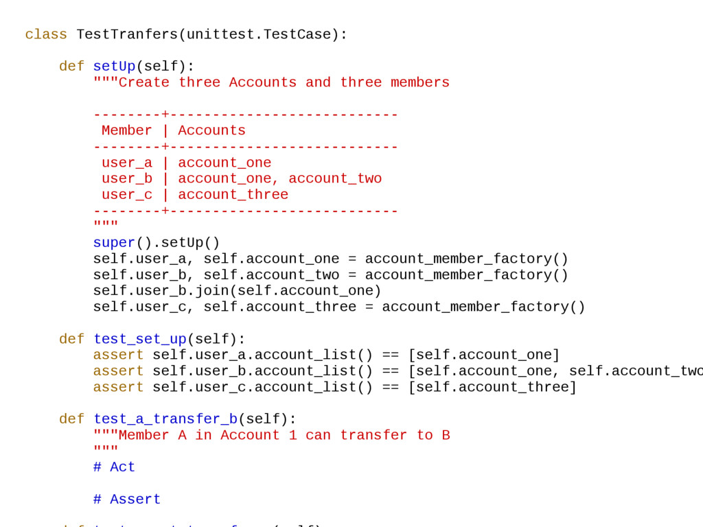 class TestTranfers(unittest.TestCase): def setU...