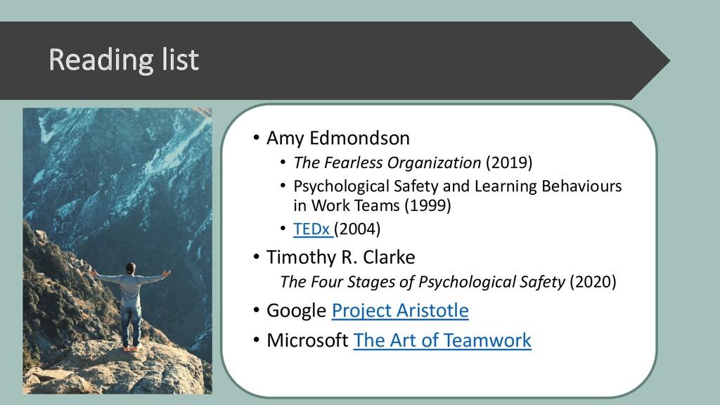 Reading list • Amy Edmondson • The Fearless Org...