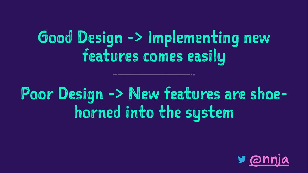 Good Design -> Implementing new features comes ...