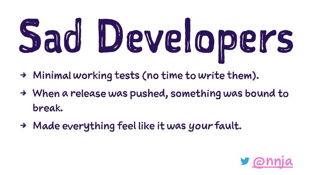 Sad Developers 4 Minimal working tests (no time...