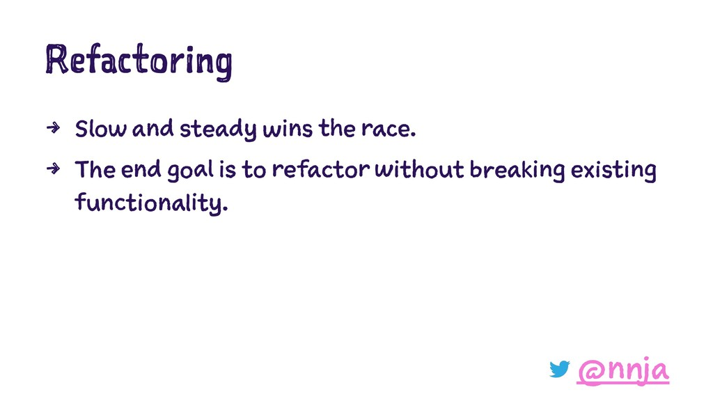 Refactoring 4 Slow and steady wins the race. 4 ...