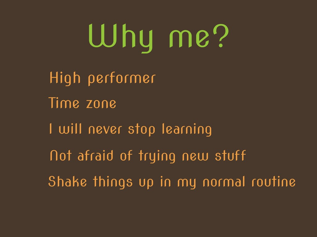 Why me? High performer Time zone I will never s...