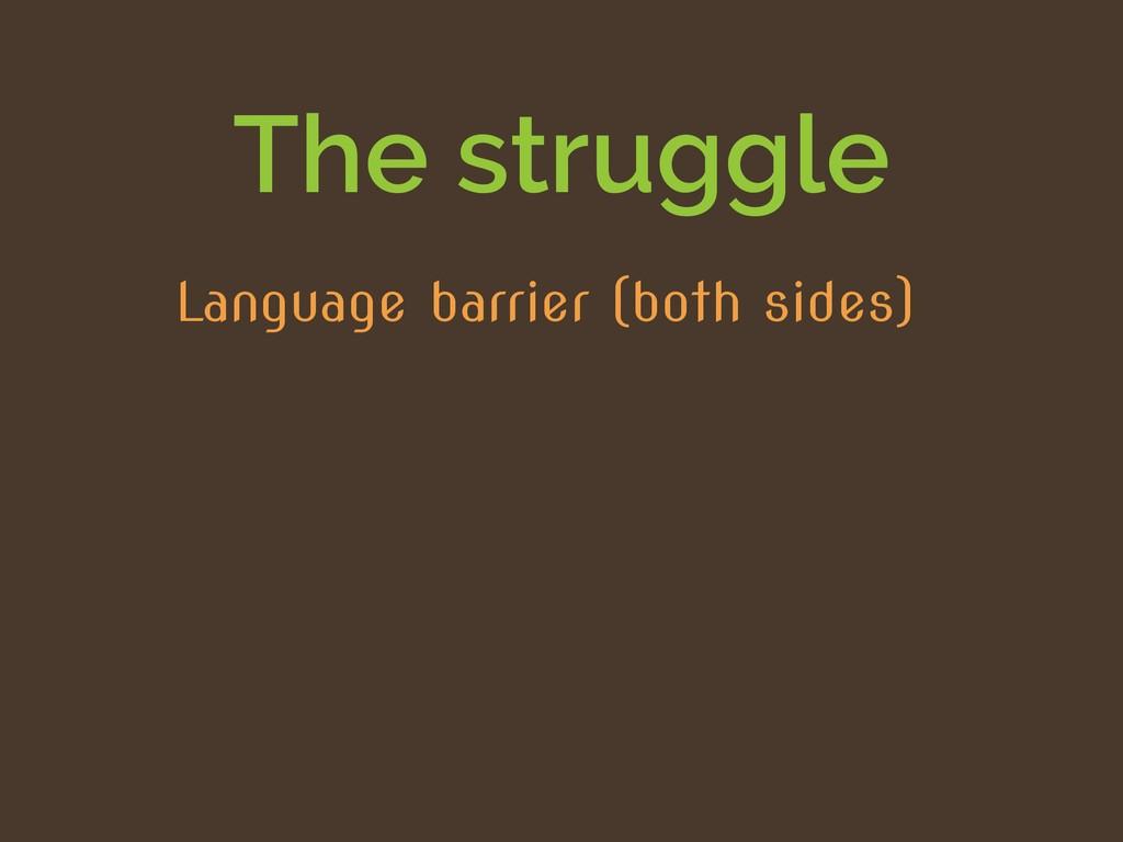 The struggle Language barrier (both sides)