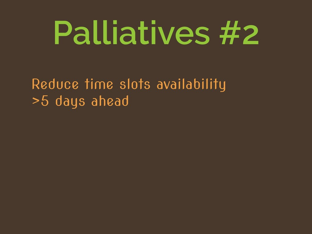 Palliatives #2 Reduce time slots availability >...