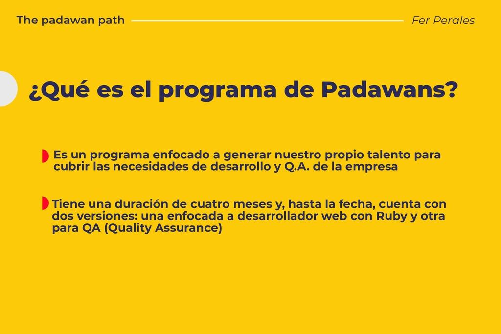 The padawan path Fer Perales ¿Qué es el program...