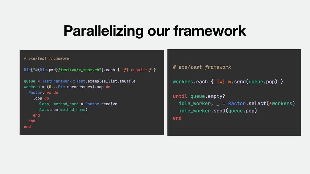 Parallelizing our framework