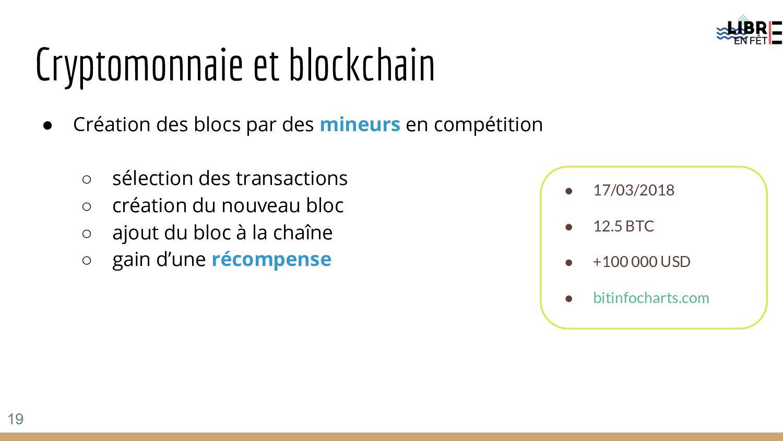 Cryptomonnaie et blockchain ● Création des bloc...