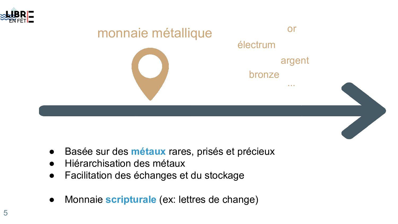 monnaie métallique ● Basée sur des métaux rares...