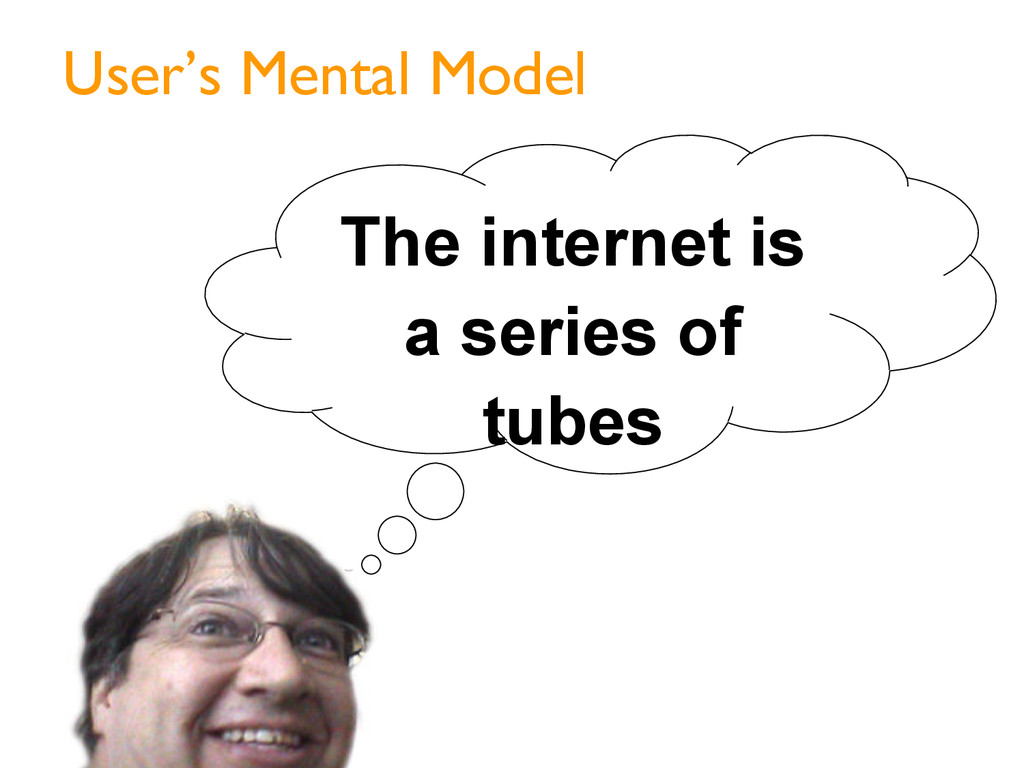 User's Mental Model The internet is a series of...