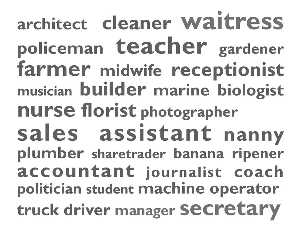 architect cleaner waitress policeman teacher ga...