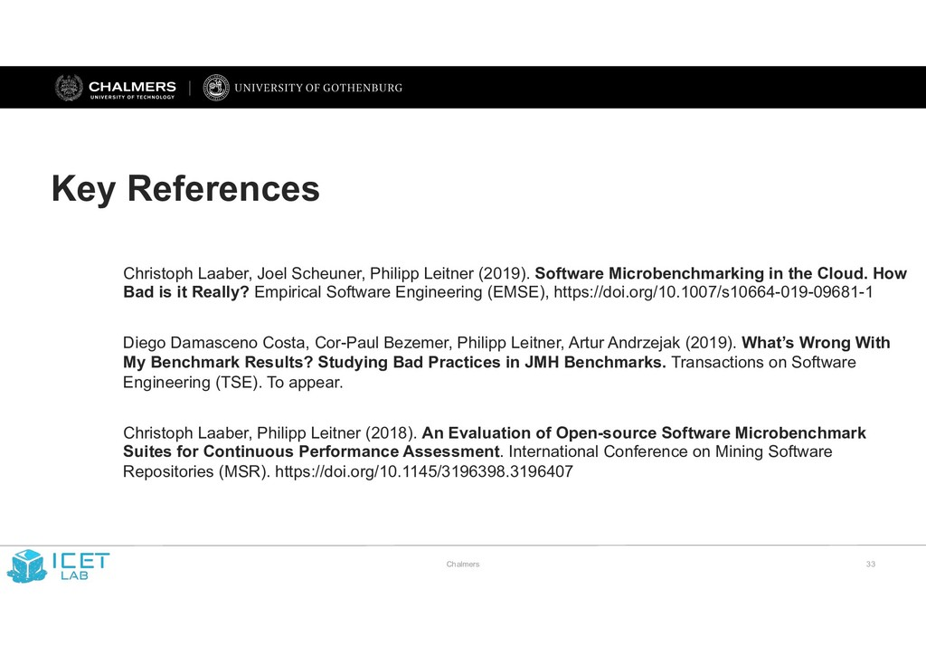 Chalmers !33 Key References Christoph Laaber, J...