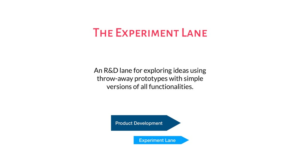 The Experiment Lane An R&D lane for exploring i...