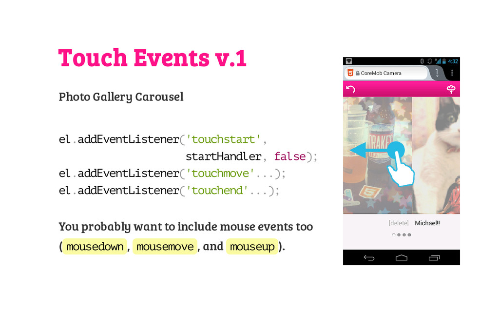 Touch Events v.1 Photo Gallery Carousel e l . a...