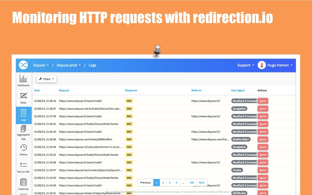 Monitoring HTTP requests with redirection.io