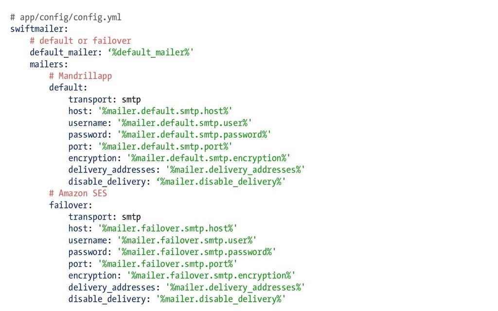 # app/config/config.yml swiftmailer: # default ...