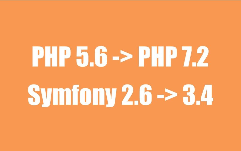PHP 5.6 -> PHP 7.2 Symfony 2.6 -> 3.4