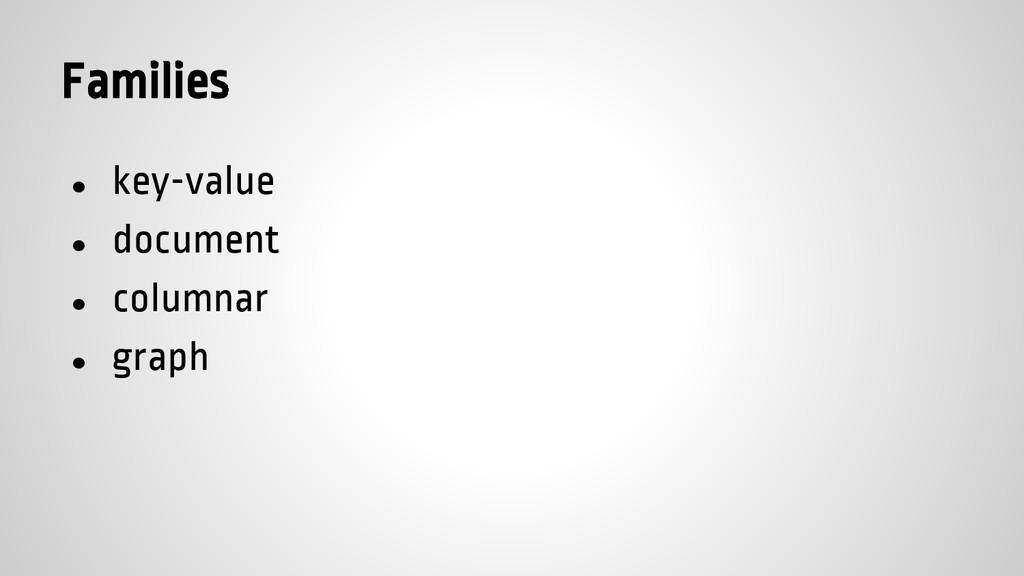 Families ● key-value ● document ● columnar ● gr...