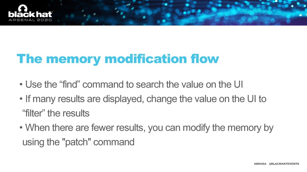 #BHUSA @BLACKHATEVENTS The memory modification ...