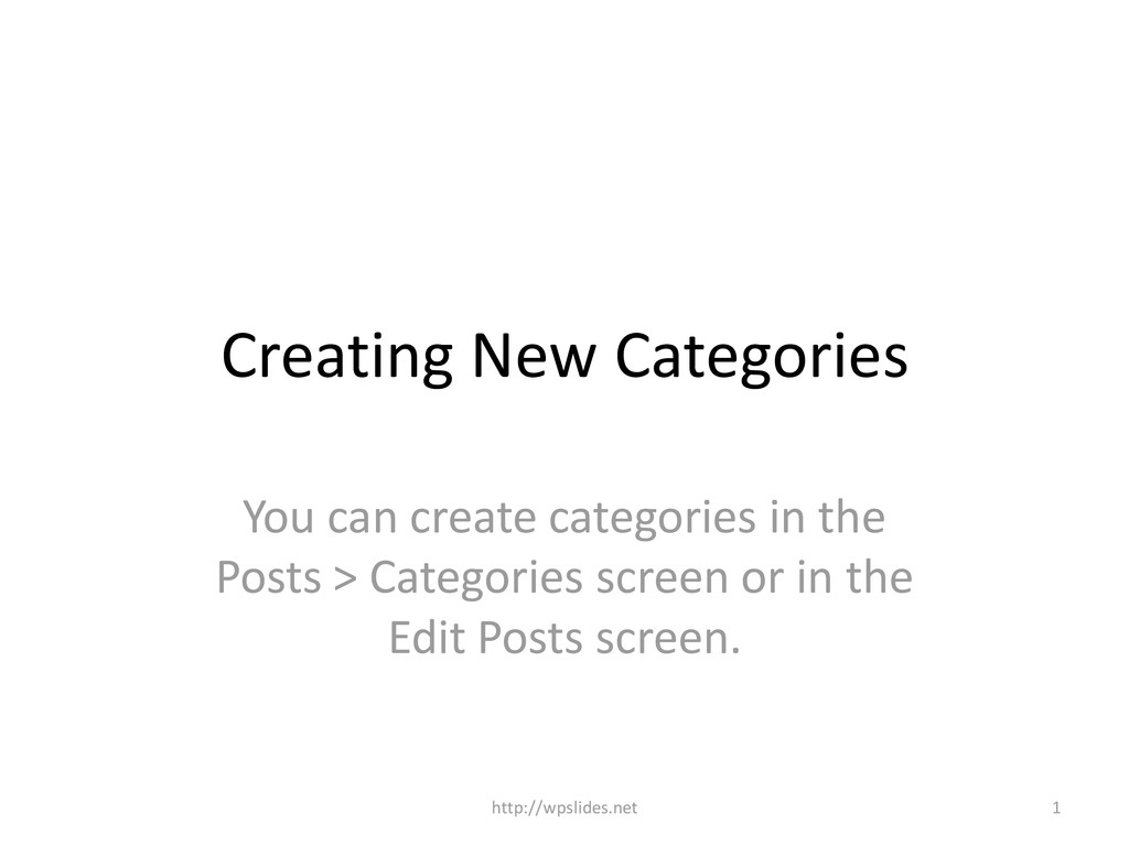 Creating New Categories You can create categori...