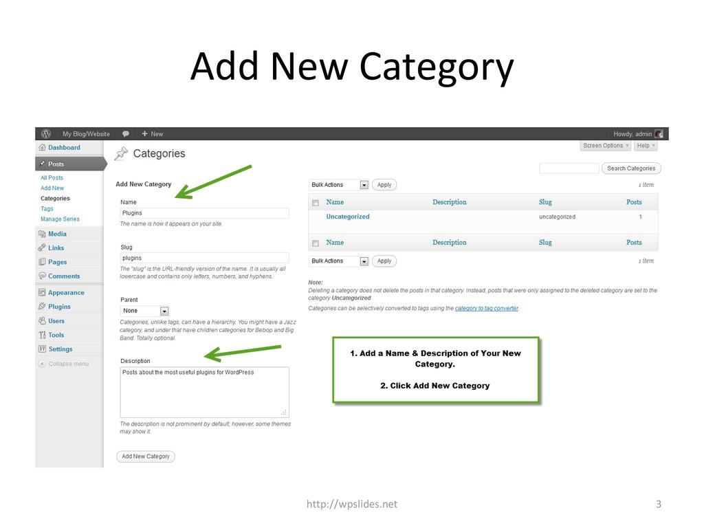 Add New Category http://wpslides.net 3