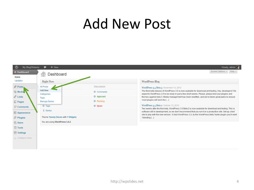 Add New Post http://wpslides.net 4