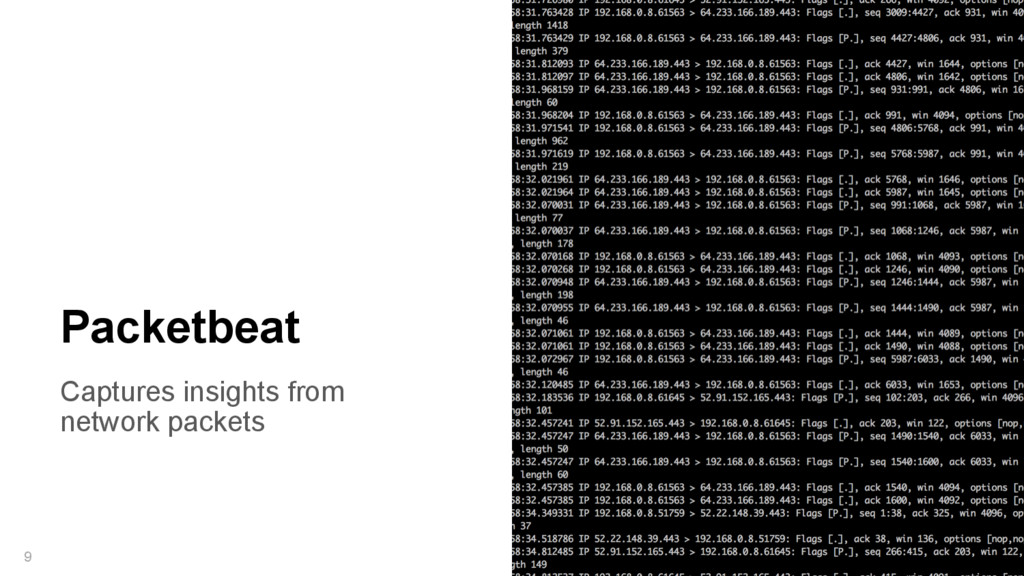 Captures insights from network packets 9 Packet...