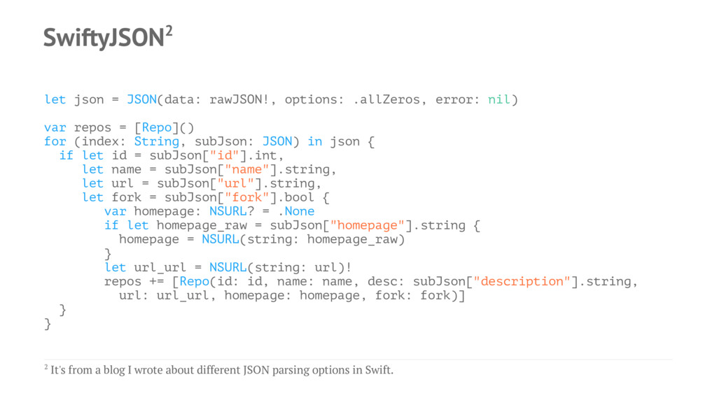 SwiftyJSON2 let json = JSON(data: rawJSON!, opt...