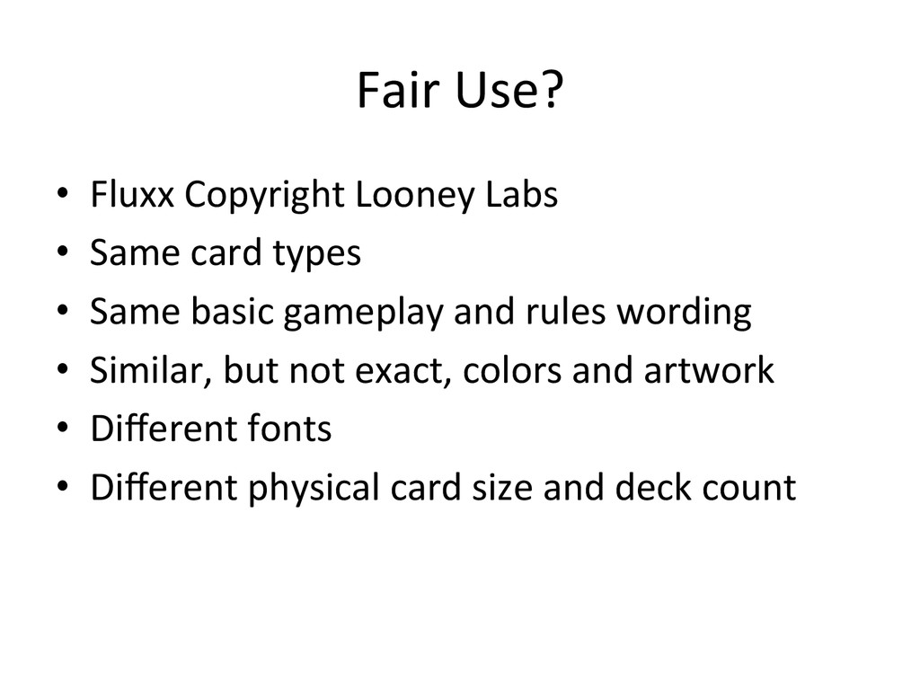 Fair Use?  • Fluxx Copyright Loone...