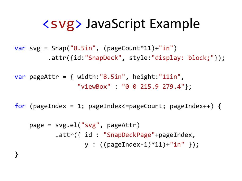 <svg> JavaScript Example  var svg...